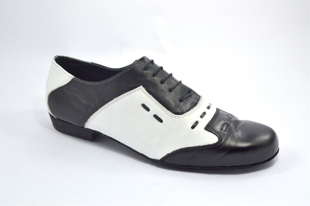 Ανδρικό παπούτσι χορού αργεντίνικου τάνγκο από μαύρο και λευκό δέρμα