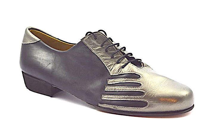 Ανδρικό παπούτσι τάνγκο από μαύρο και γκρι-ασημί δέρμα