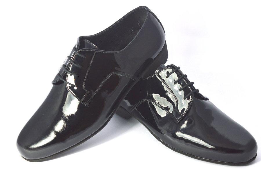 Ανδρικό παπούτσι χορού τάνγκο Plain Toe από μαύρο λουστρίνι