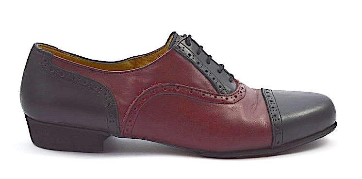 Ανδρικό παπούτσι τάνγκο από μαύρο και μπορντό δέρμα