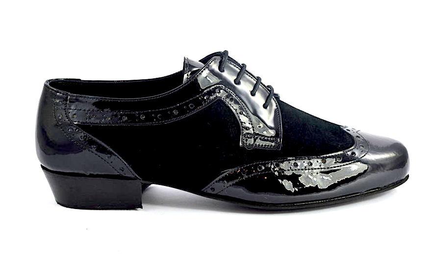 Ανδρικό παπούτσι τάνγκο από μαύρο δέρμα λουστρίνι και σουέτ