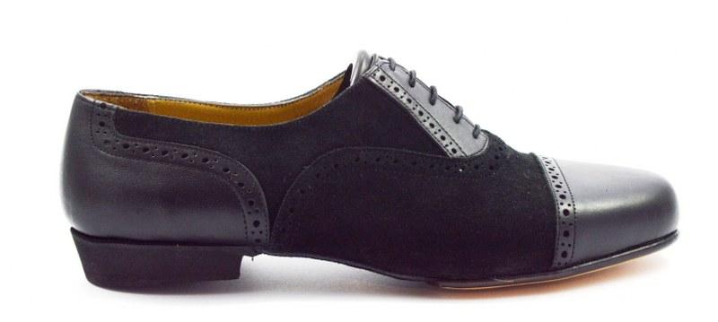 Ανδρικό παπούτσι τάνγκο από μαύρο ματ δέρμα και μαύρο σουέτ