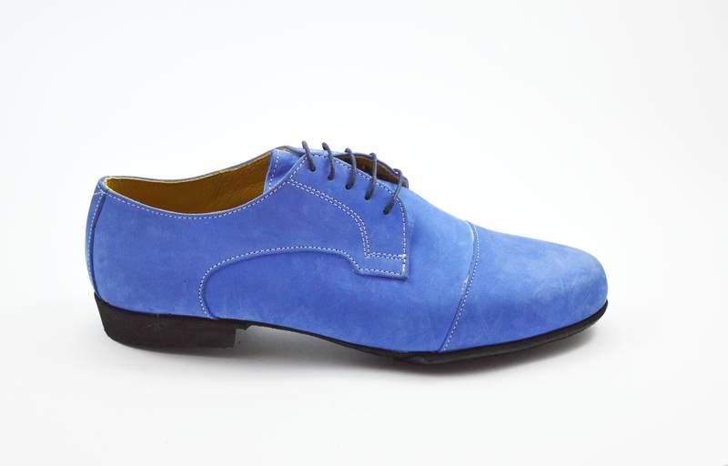 Ανδρικό παπούτσι τάνγκο από μπλε σουέτ δέρμα
