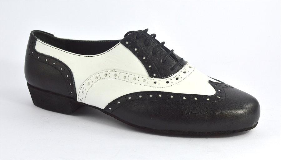 Ανδρικό παπούτσι τάνγκο από λευκό και μαύρο ματ δέρμα