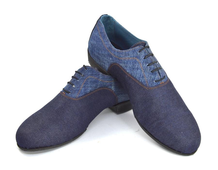 Ανδρικό παπούτσι τάνγκο από συνδυασμό τζιν υφασμάτων