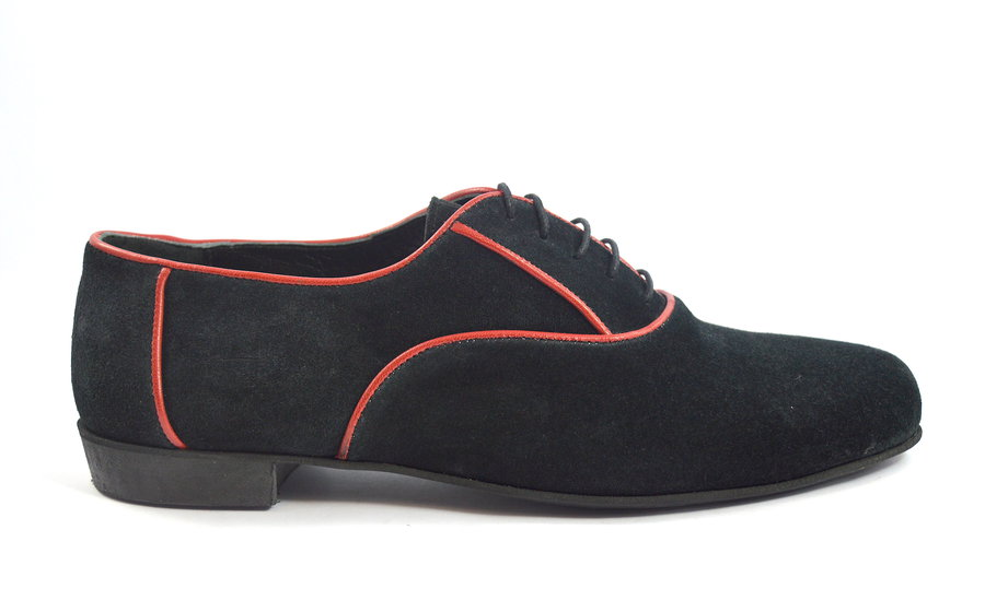 Men tango shoe by black suede and red lines