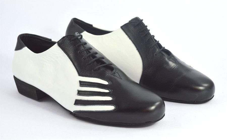 Ανδρικό παπούτσι τάνγκο από μαύρο και λευκό δέρμα