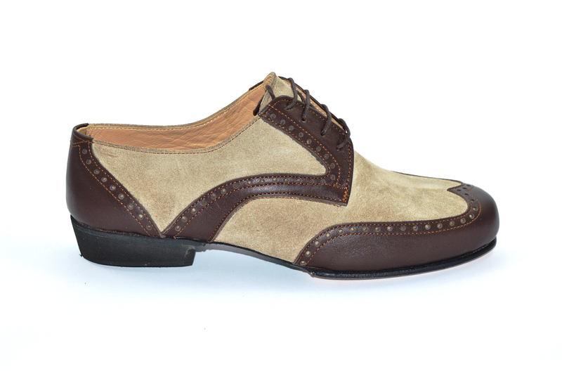 Ανδρικό παπούτσι τάνγκο από καφέ ματ και σουετ δέρμα