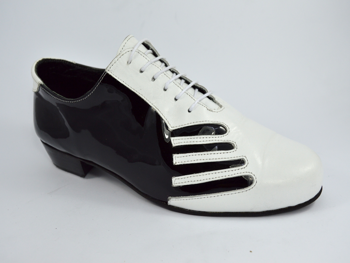Men argentine tango dance shoes by patent black and white leather