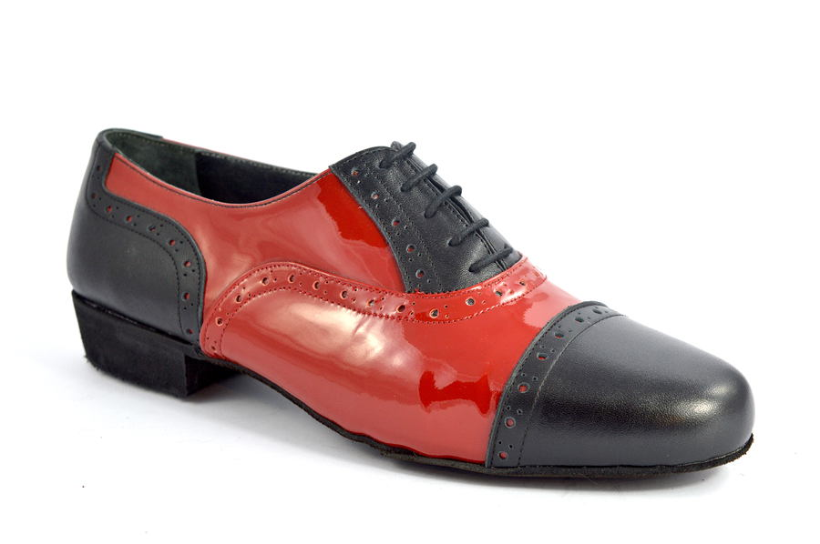 Men argentine tango dance shoes in soft black and red patent leather