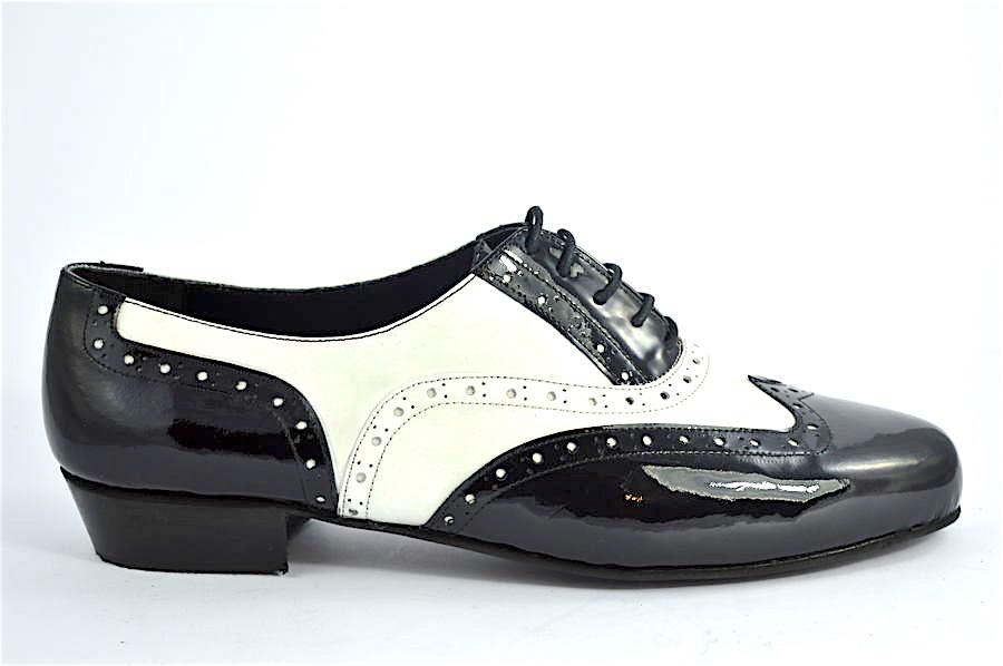 Ανδρικό παπούτσι τάνγκο από λευκό και μαύρο δέρμα λουστρίνι