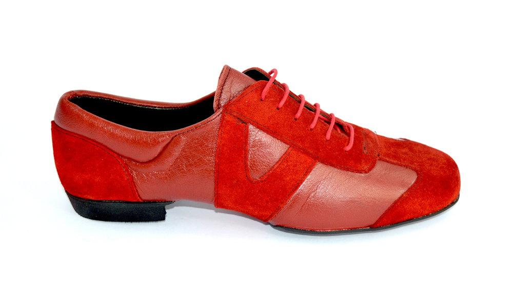 Ανδρικό παπούτσι χορού αργεντίνικου τάνγκο από μαλακό κόκκινο δέρμα
