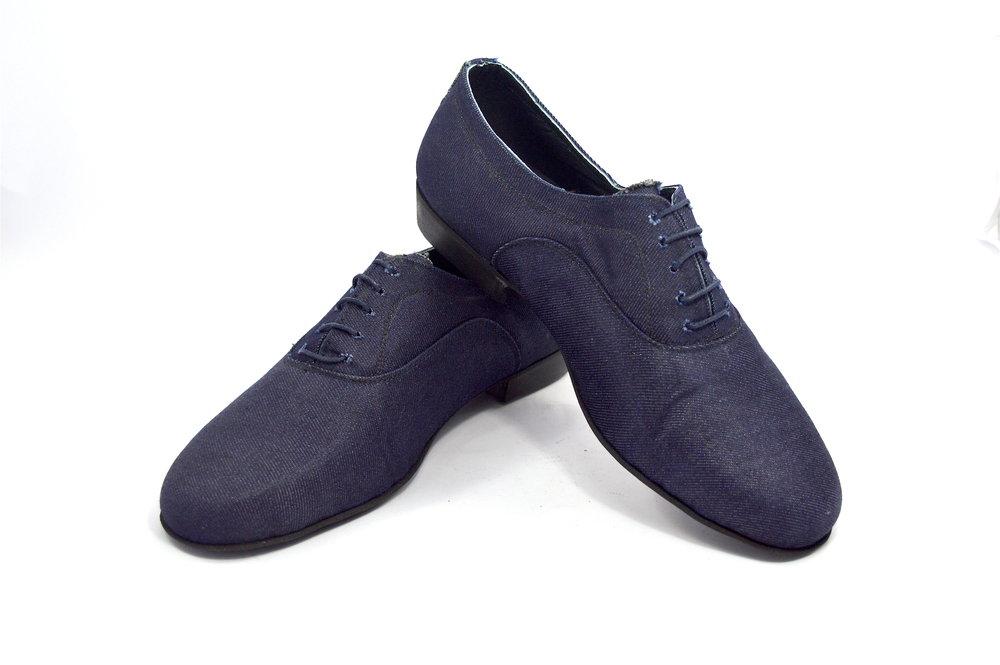 Ανδρικό παπούτσι χορού αργεντίνικου τάνγκο από τζιν ύφασμα και δέρμα