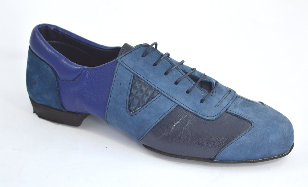 Men argentine tango dance shoes by soft blue leather