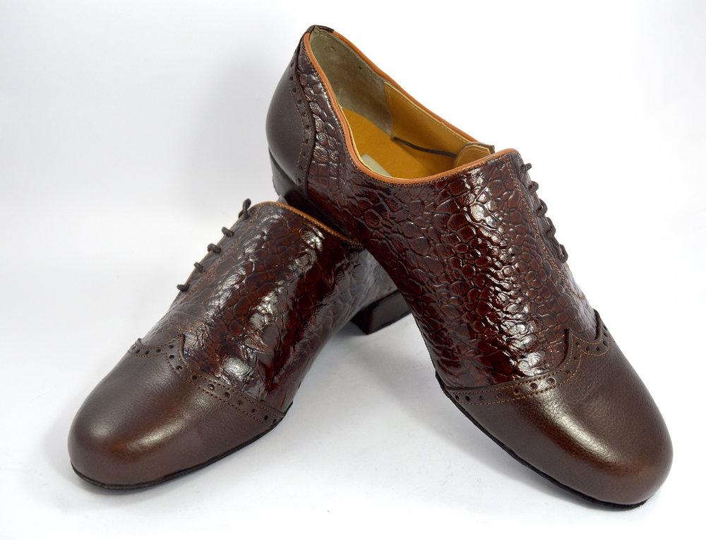 Ανδρικό παπούτσι χορού αργεντίνικου τάνγκο από καφέ κροκό και καφέ ματ δέρμα