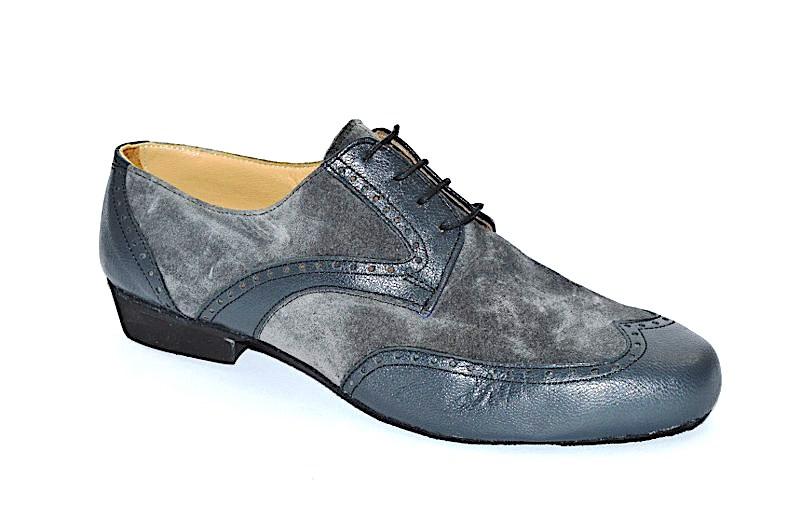 Ανδρικό παπούτσι τάνγκο σε συνδυασμό από γκρι ματ και σουετ δέρμα