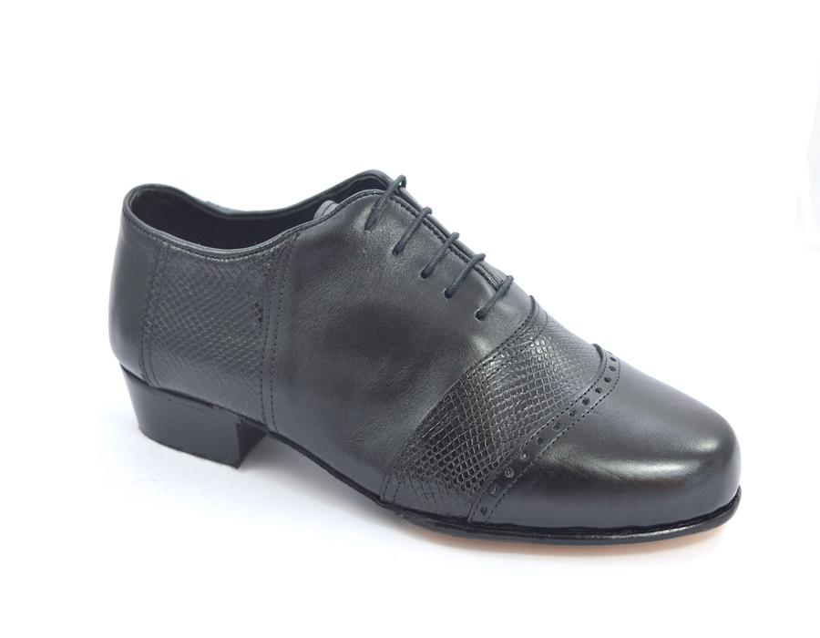 Ανδρικό παπούτσι τάνγκο από μαλακό μαύρο δέρμα και μαύρο δέρμα φίδι