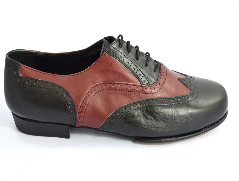 Ανδρικό παπούτσι τάνγκο από μαύρο και μπορντό ματ δέρμα
