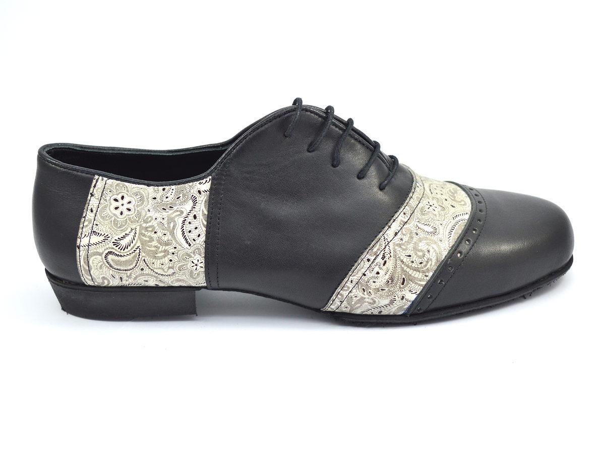 Ανδρικό παπούτσι τάνγκο από μαύρο δέρμα και μπεζ λαχούρι