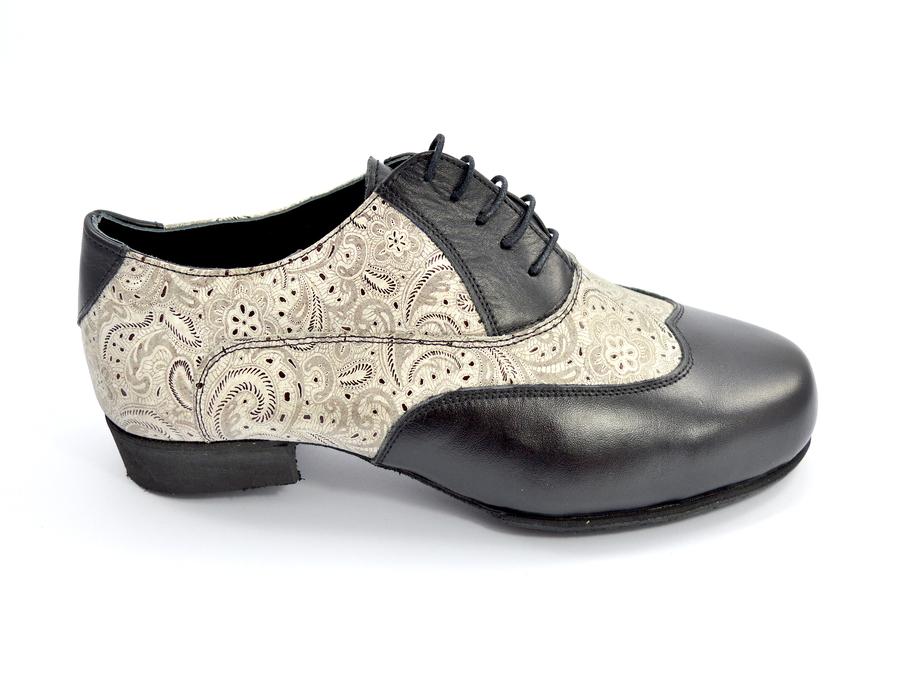 Ανδρικό παπούτσι τάνγκο από μπεζ λαχούρι και μαύρο ματ δέρμα