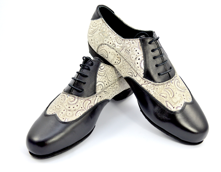 Men tango shoes by soft black leather and beige paisley leather