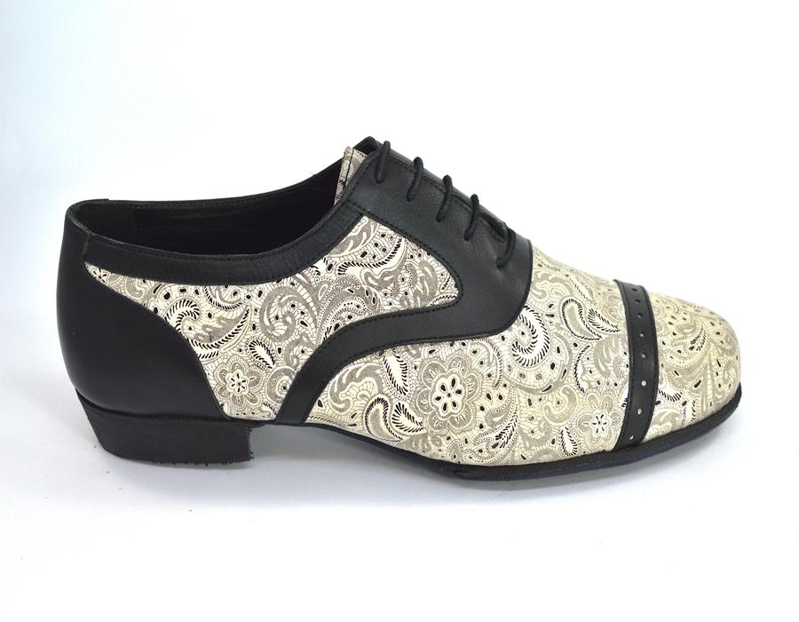 Ανδρικό παπούτσι τάνγκο από μαύρο-μπεζ λαχούρι δέρμα