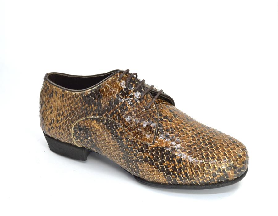 Ανδρικό παπούτσι χορού τάνγκο από καφέ δέρμα φίδι
