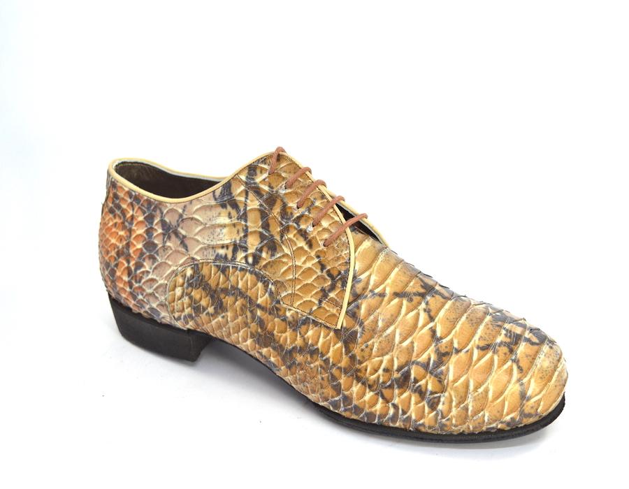 Ανδρικό παπούτσι χορού τάνγκο από μπεζ-καφέ δέρμα φίδι