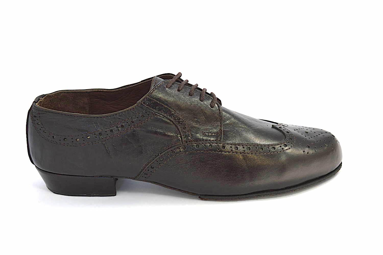 Ανδρικό παπούτσι χορού τάνγκο από καφέ ματ δέρμα
