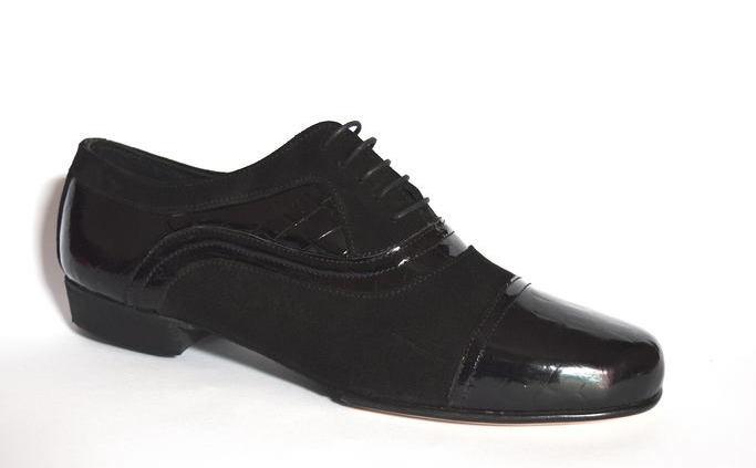 Ανδρικό παπούτσι τάνγκο από μαύρο δέρμα λουστρίνι κροκό και σουέτ