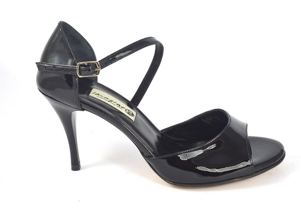 Γυναικείο παπούτσι tango open toe από μαύρο λουστρίνι δέρμα