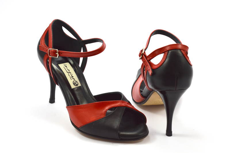 Women's Tango Shoe, peep toe style, black and red soft leather