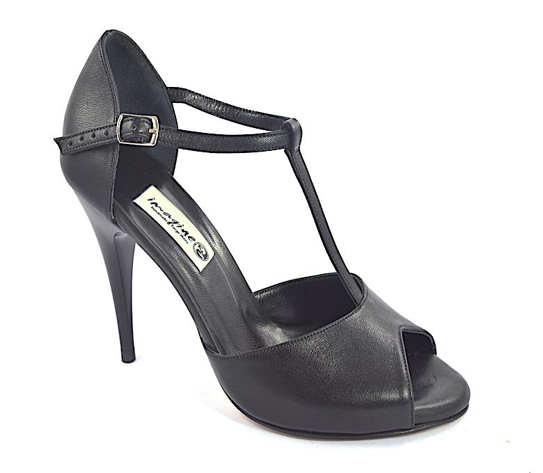 Γυναικείο παπούτσι χορού αργεντίνικου τάνγκο, peep toe από μαύρο μαλακό δέρμα