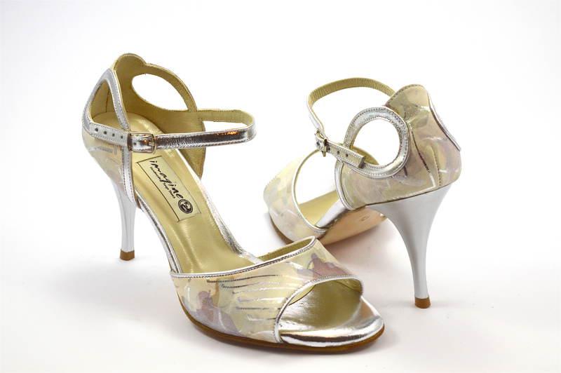 Γυναικείο παπούτσι tango open toe από ασημί-μπεζ δέρμα