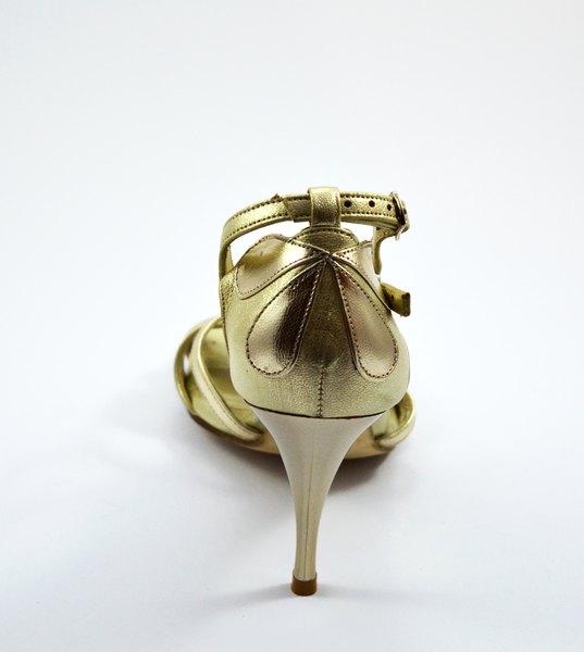 Γυναικείο παπούτσι tango open toe από χρυσό δέρμα