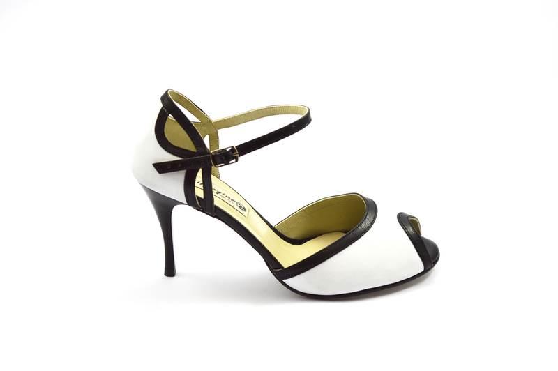 Γυναικείο παπούτσι tango peep toe από μαύρο και λευκό δέρμα
