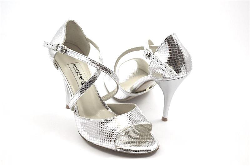 Γυναικείο παπούτσι open toe από ασημί δέρμα φίδι