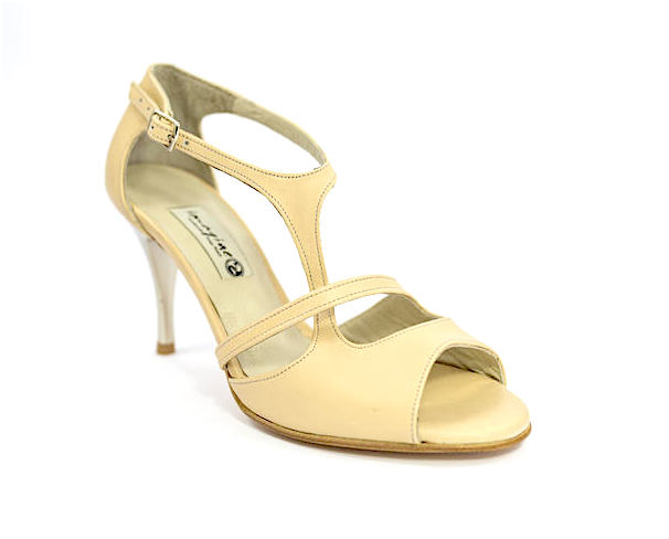 Women Argentine Tango Shoe, by beige soft leather