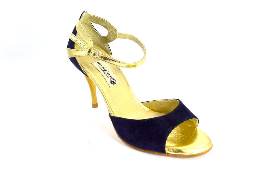 Γυναικείο παπούτσι για Tango Argentino, open toe από μπλε σουέτ και χρυσό δέρμα