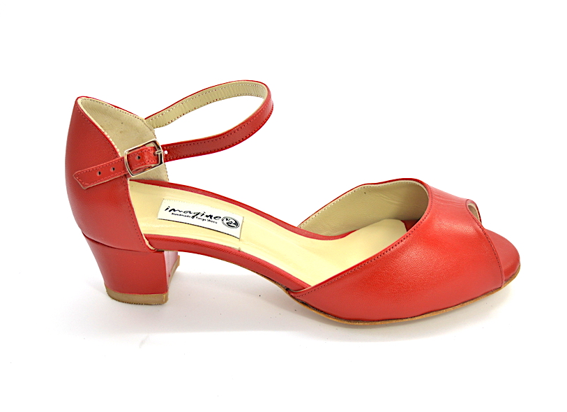 Women's Tango Shoe, peep toe style, with red soft leather