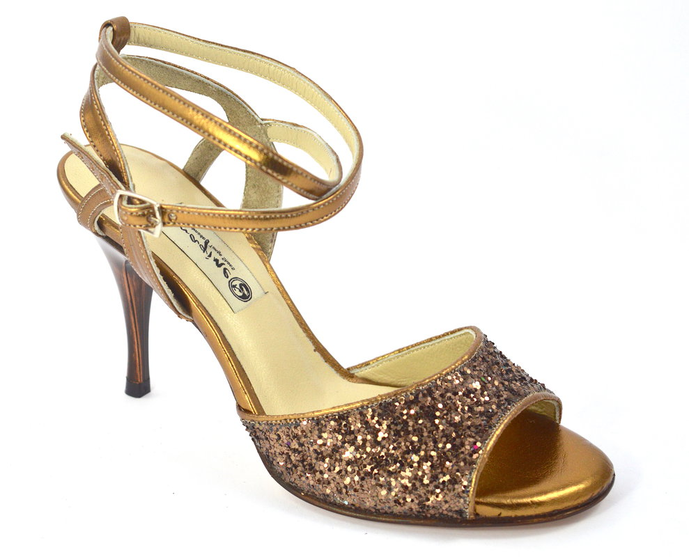 Γυναικείο παπούτσι tango open heel από μπρονζέ δέρμα και glitter