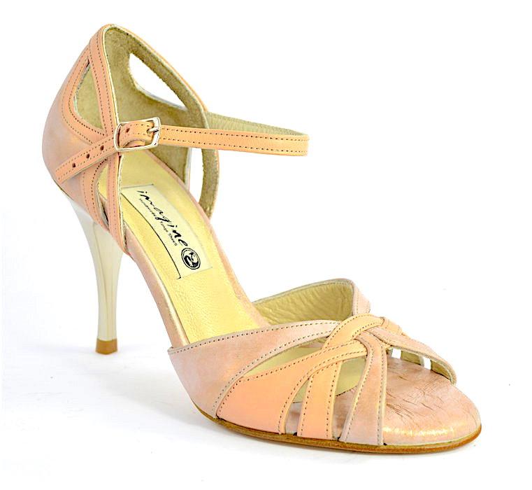 Γυναικείο παπούτσι tango open toe από ανοιχτό nude και ροζ δέρμα