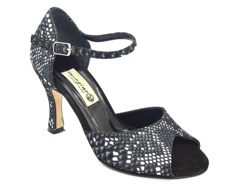 Γυναικείο παπούτσι tango peep toe από άσπρο-μαύρο δέρμα φίδι
