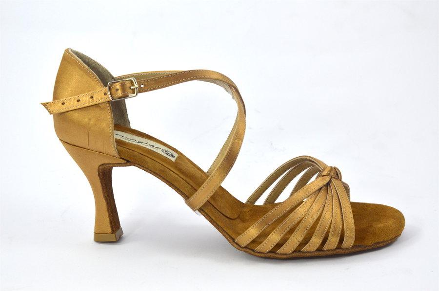 Γυναικείο Latin παπούτσι open toe από μπεζ σατέν