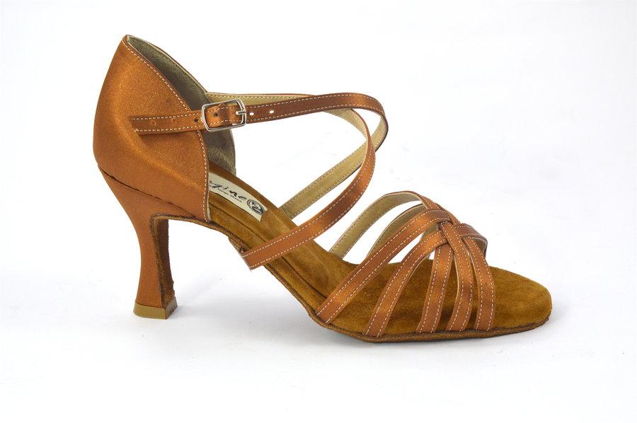 Γυναικείο Latin παπούτσι open toe από μπρονζέ σατέν