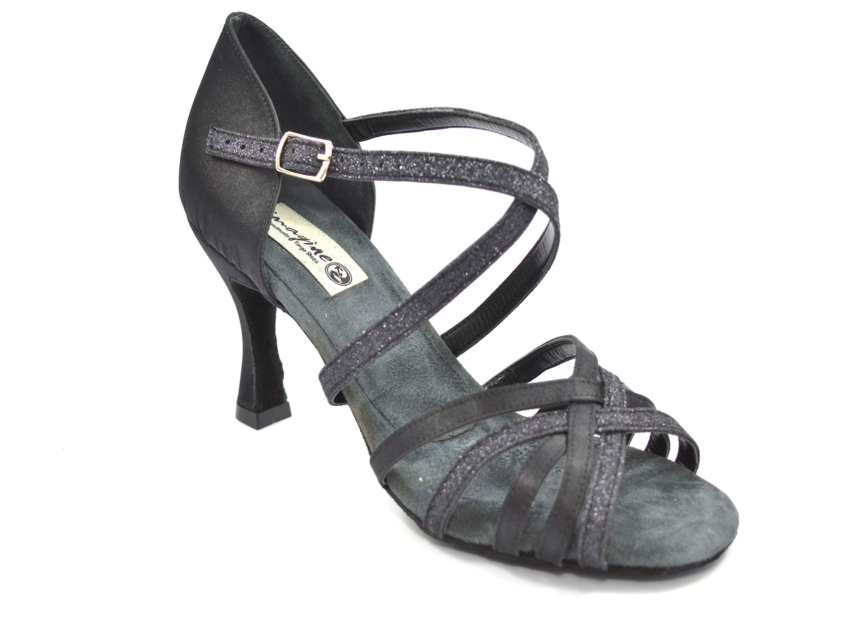 Γυναικείο παπούτσι latin με λουράκια από μαύρο σατέν και μαύρο γκλίτερ