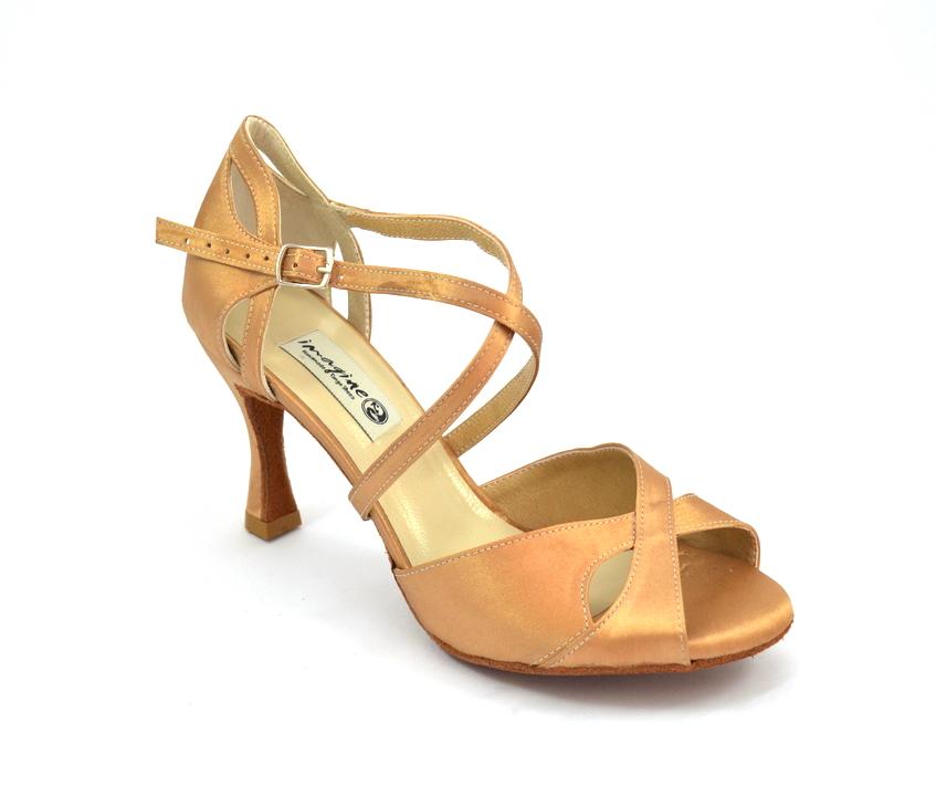Γυναικείο Latin παπούτσι open toe από ανοιχτό μπεζ σατέν