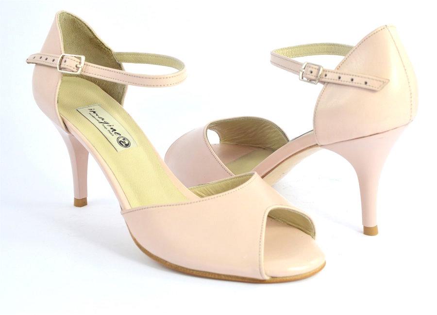 Γυναικείο παπούτσι tango peep toe από ανοιχτό ροζ δέρμα