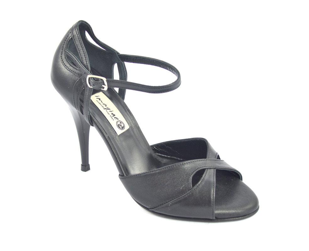 1efe53e9f18 Γυναικείο παπούτσι χορού αργεντίνικου tango peep toe από μαύρο μαλακό δέρμα