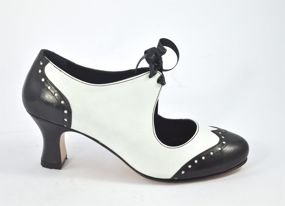 Women's Argentine Tango Shoe, closed style,  by soft black and white leather